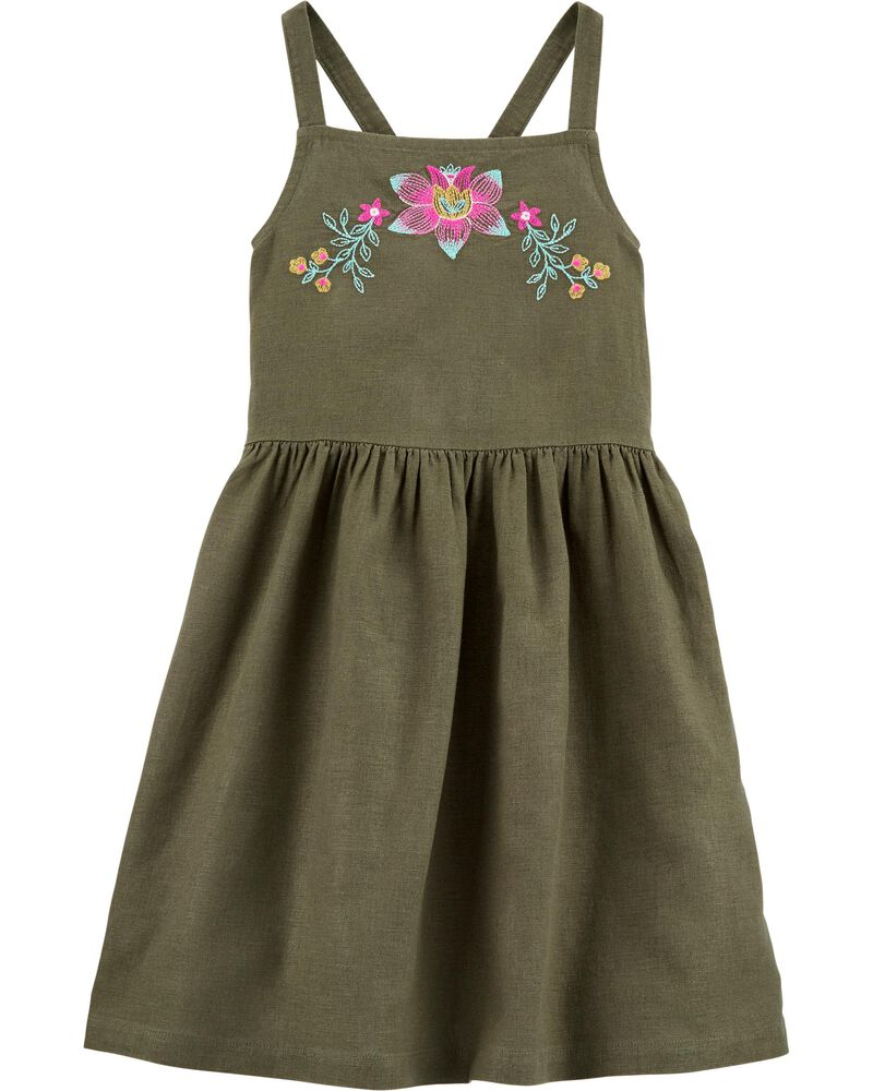 Embroidered Floral Linen Dress, , hi-res