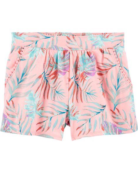 Short à enfiler avec poche à pompons à motif tropical