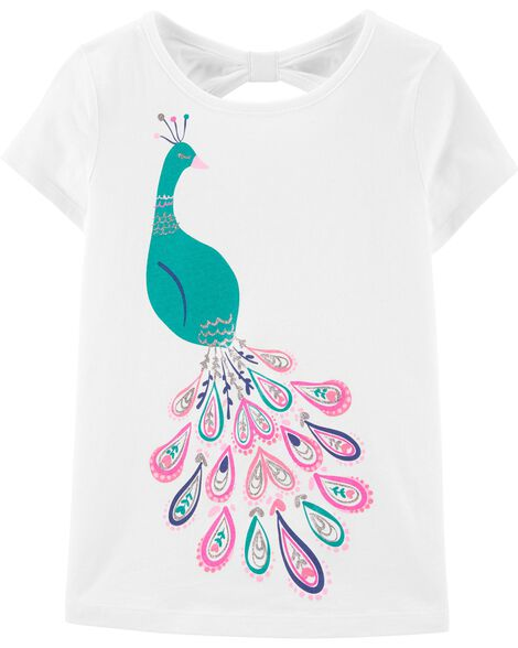 Peacock Bow Back Jersey Tee