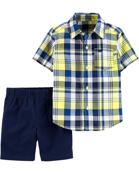 2-Piece Plaid Button-Front Shirt & Canvas Short