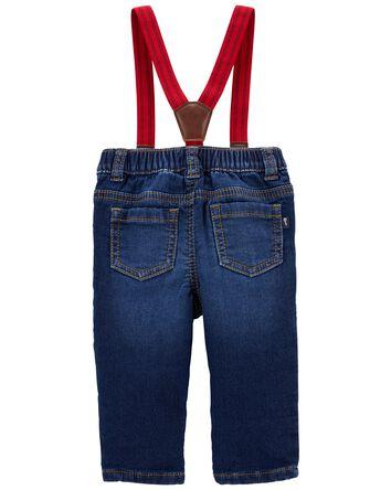 Knit Denim Suspender Jeans