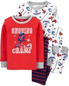 Pyjamas 4 pièces en coton ajusté chimpanzé qui ronfle, , hi-res