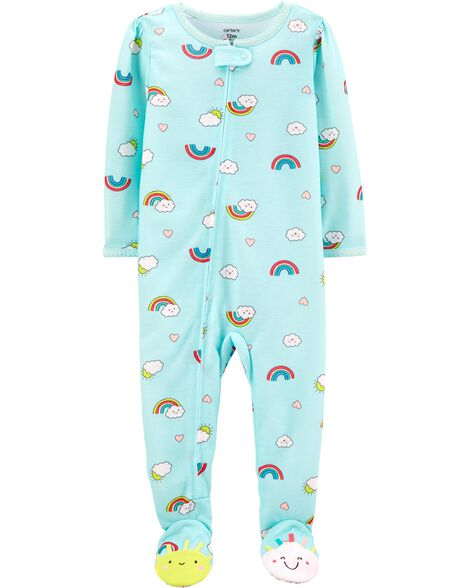 1-Piece Rainbow Poly Footie PJs
