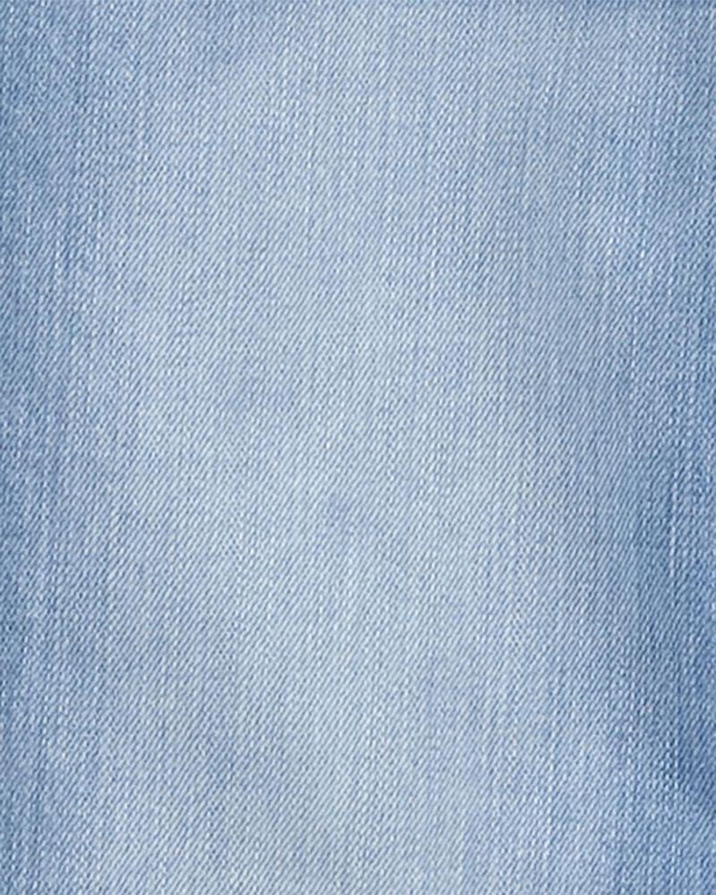 Crochet Trim Stretch Denim Overalls, , hi-res