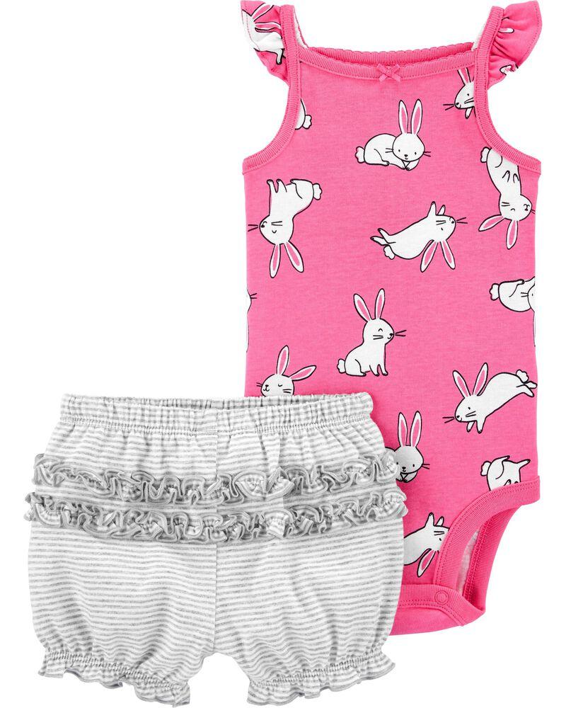 2-Piece Bunny Bodysuit Short Set, , hi-res