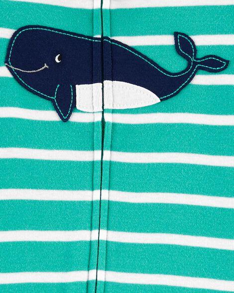 1-Piece Whale Snug Fit Cotton Footie PJs