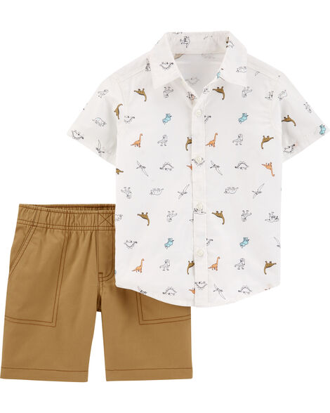 2-Piece Dinosaur Button-Front & Canvas Short Set