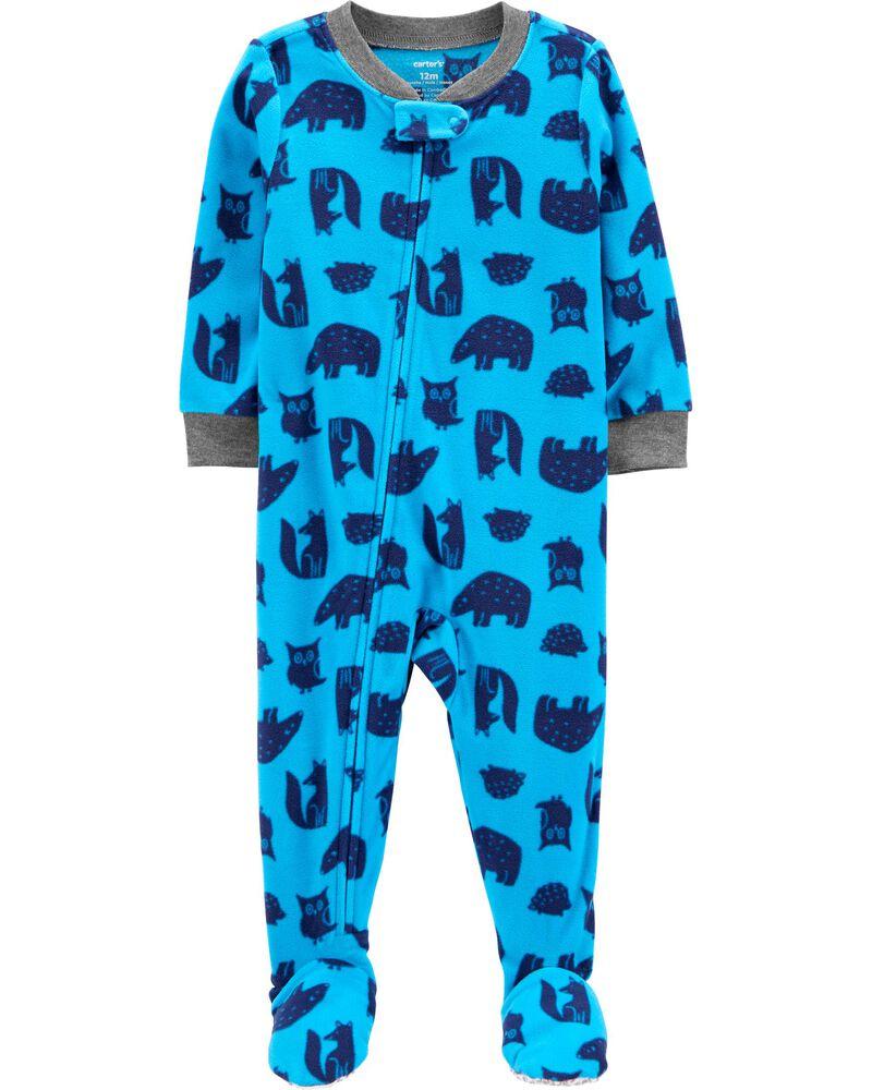1-Piece Woodland Fleece Footie PJs, , hi-res