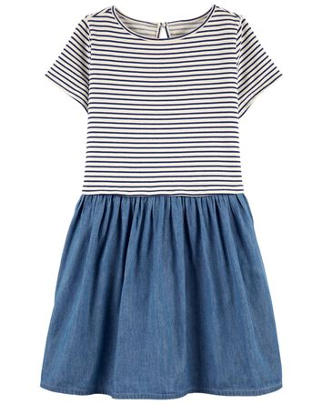 Stripe & Denim Dress