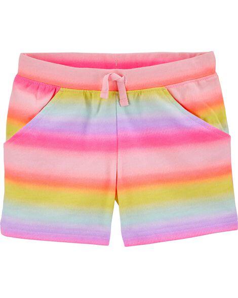 Short à enfiler en jersey bouclette à arc-en-ciel de couleur dégradée