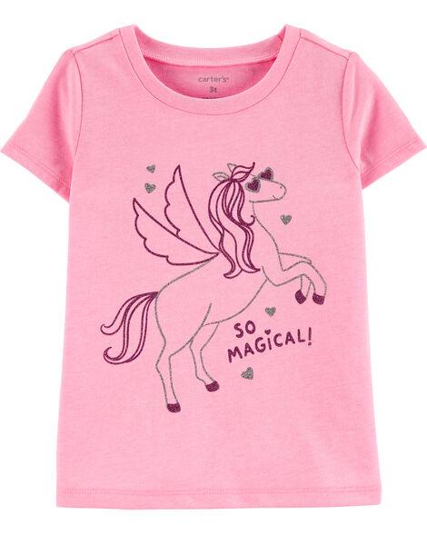 T-shirt en jersey à licorne fluo scintillante