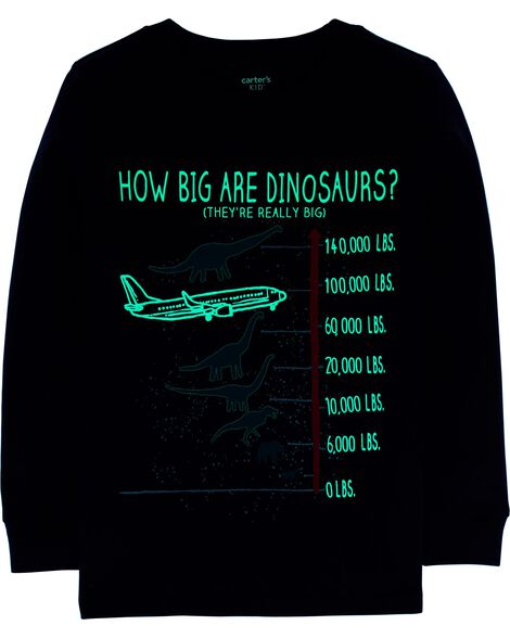 Glow-In-The-Dark Airplane & Dinosaur Slub Jersey Tee
