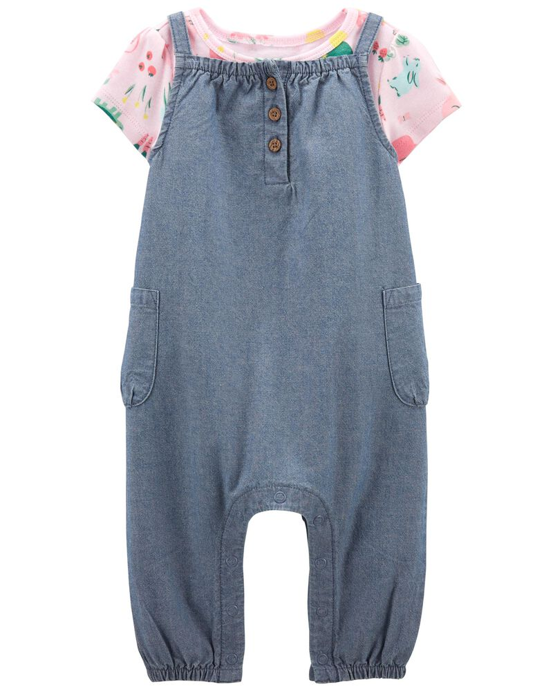 2-Piece Tee & Chambray Overall Set, , hi-res