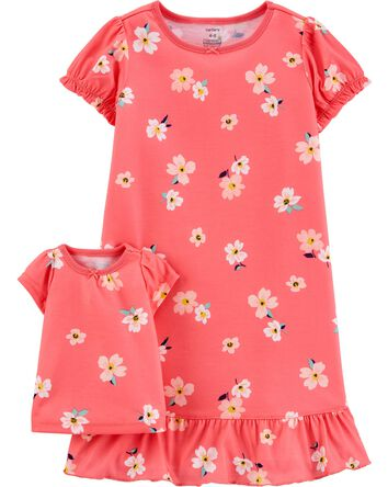 Floral Matching Nightgown & Doll Ni...
