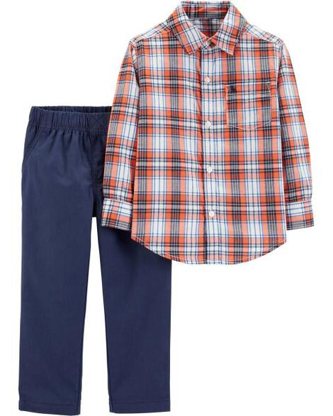2-Piece Woven Plaid Shirt & Canvas Pant Set