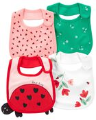 4-Pack Ladybug Teething Bibs, , hi-res