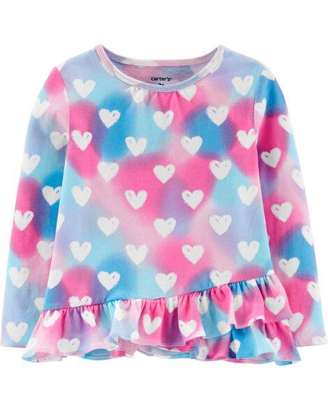 Rainbow Heart Ruffle Jersey Tee