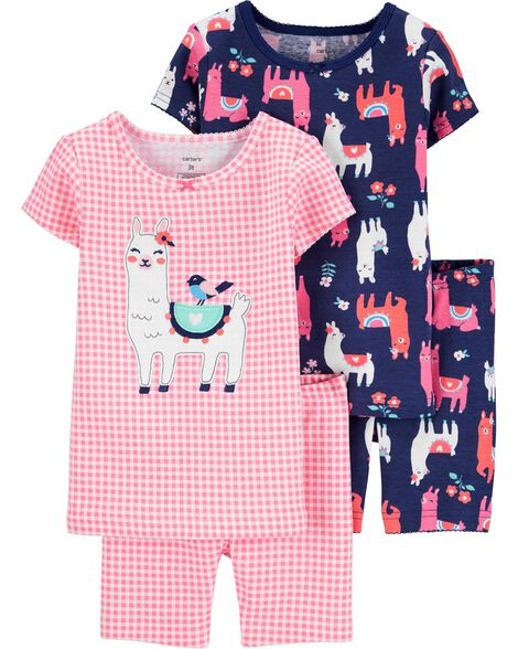 4-Piece Llama Snug Fit Cotton PJs