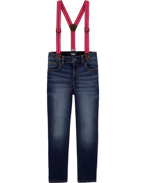 Jeans à bretelles doublé de jersey