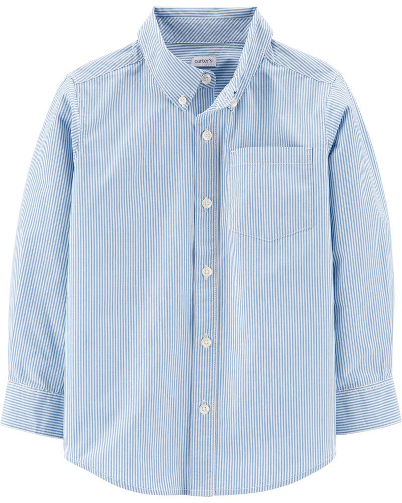 Chemise boutonnée en popeline rayée, , hi-res