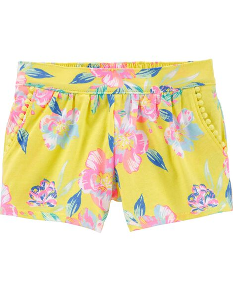 Tropical Floral Pom Pom Shorts