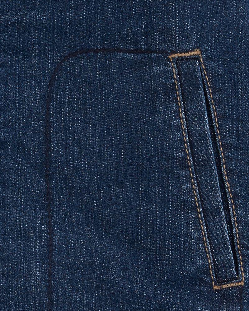 Sherpa-Lined Knit Denim Jacket, , hi-res