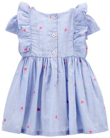 Sparkle Stripe Heart Print Dress