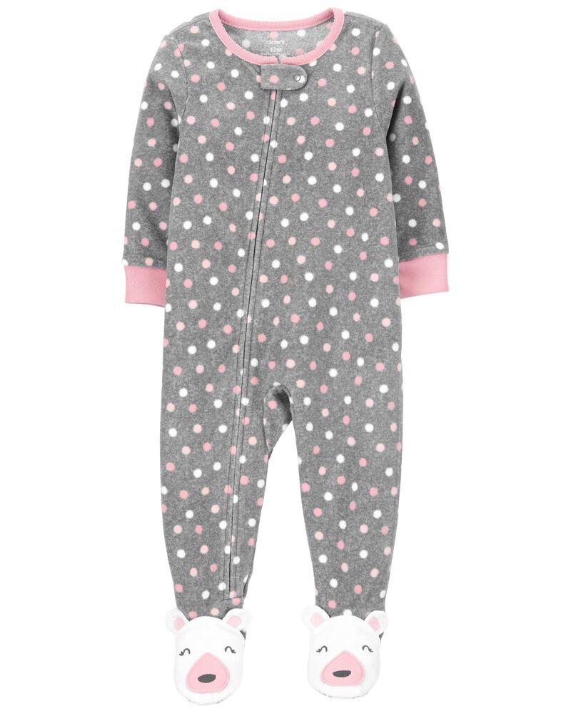 Pyjama 1 pièce en molleton à pois et à pieds, , hi-res