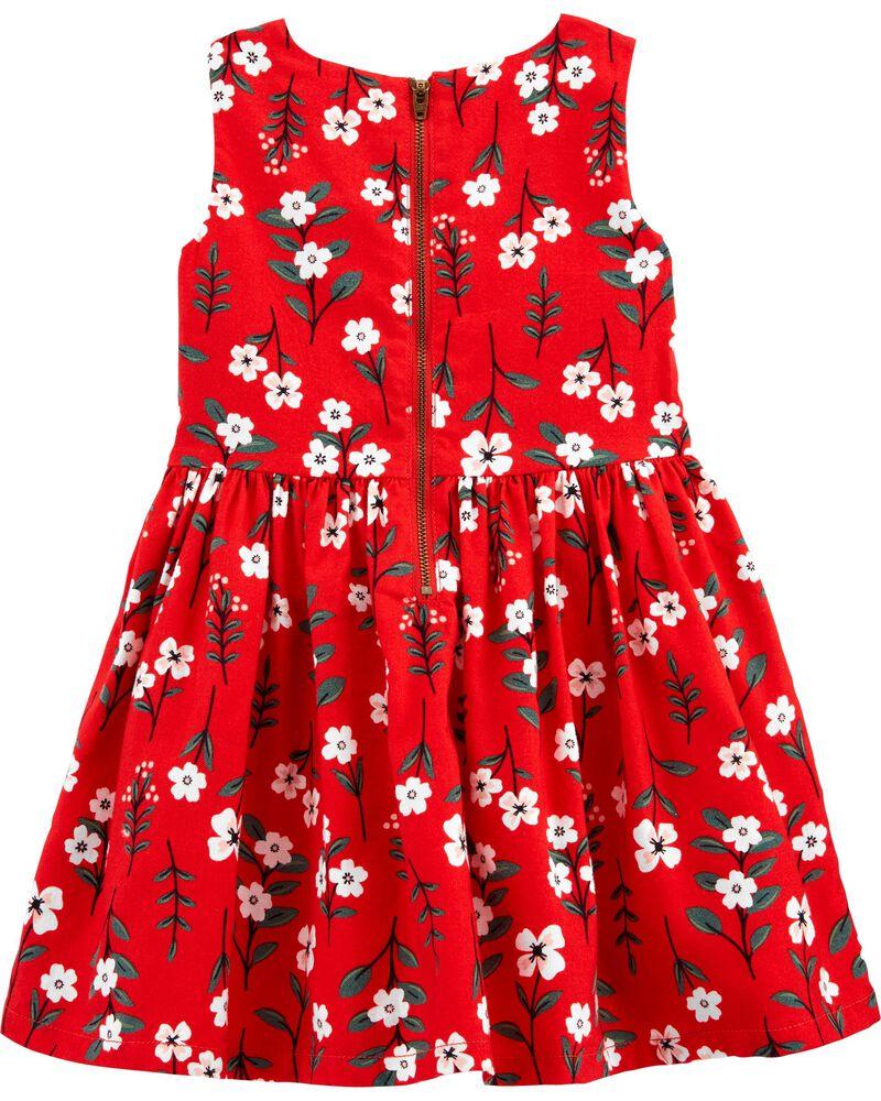 Floral Twill Dress, , hi-res
