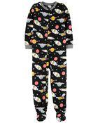 Pyjama 1 pièce en molleton à pieds espace, , hi-res