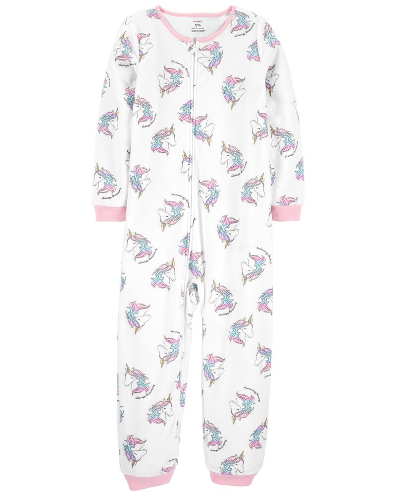 1-Piece Unicorn Fleece Footless PJs, , hi-res