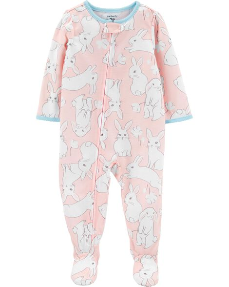1-Piece Bunny Poly Footie PJs