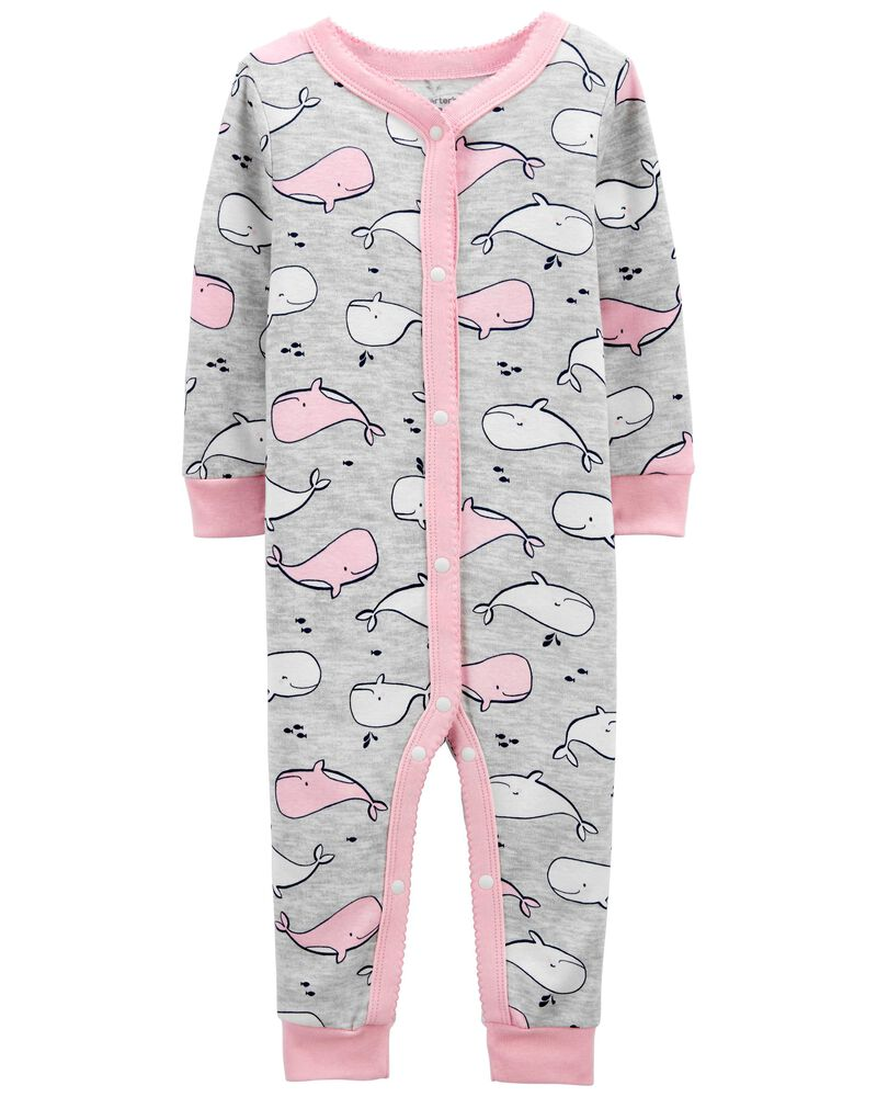 1-Piece Whale 100% Snug Fit Cotton Footless PJs, , hi-res