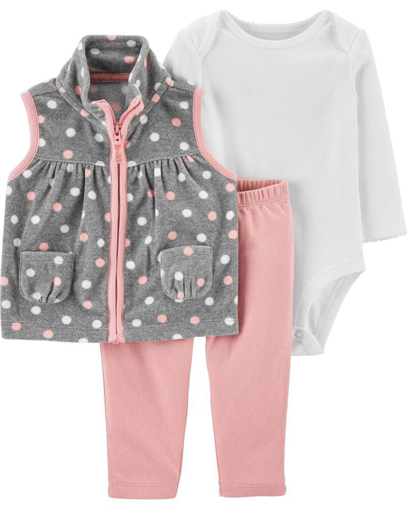 3-Piece Polka Dot Little Vest Set, , hi-res