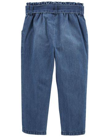 Pantalon à taille froissée à délava...