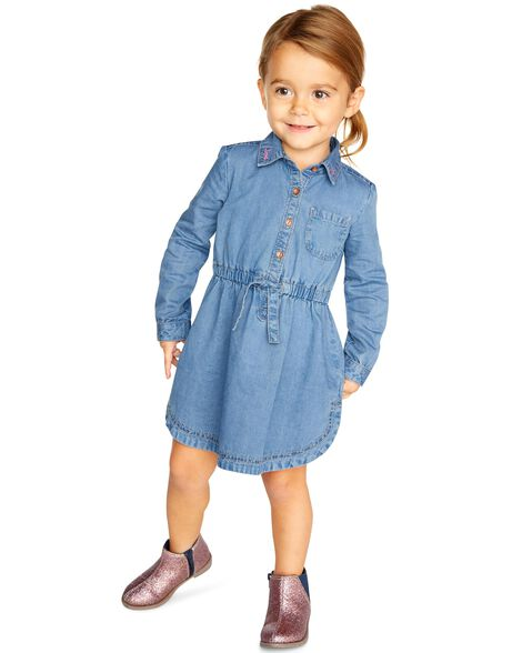 Robe-chemisier en denim brodé