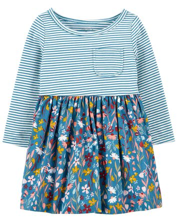 Mixed Print Cotton Dress