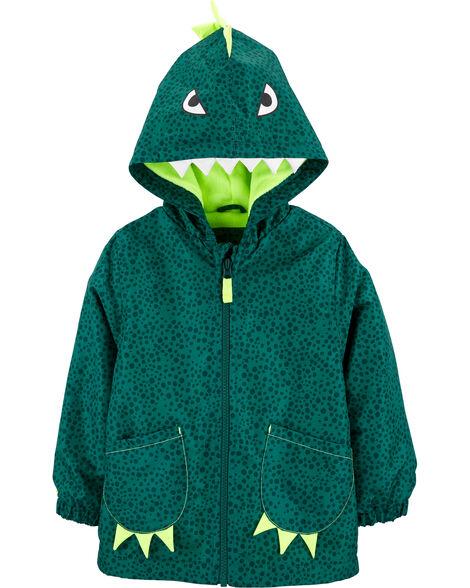 Dinosaur Fleece-Lined Rain Jacket