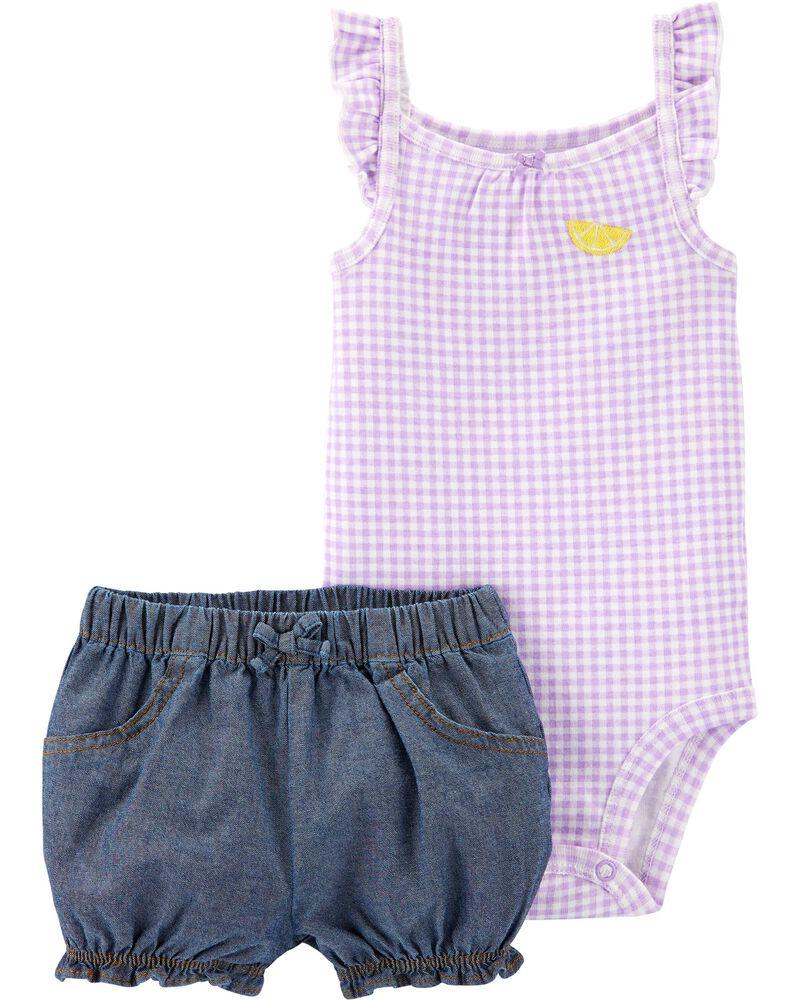 2-Piece Gingham Bodysuit & Chambray Short Set, , hi-res