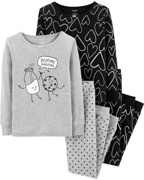 4-Piece Hearts Snug Fit Cotton PJs