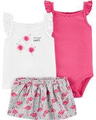 Ensemble 3 pièces jupe-short flamant rose, , hi-res