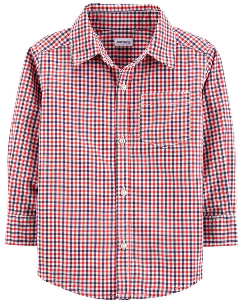 Chemise boutonnée à motif vichy, , hi-res