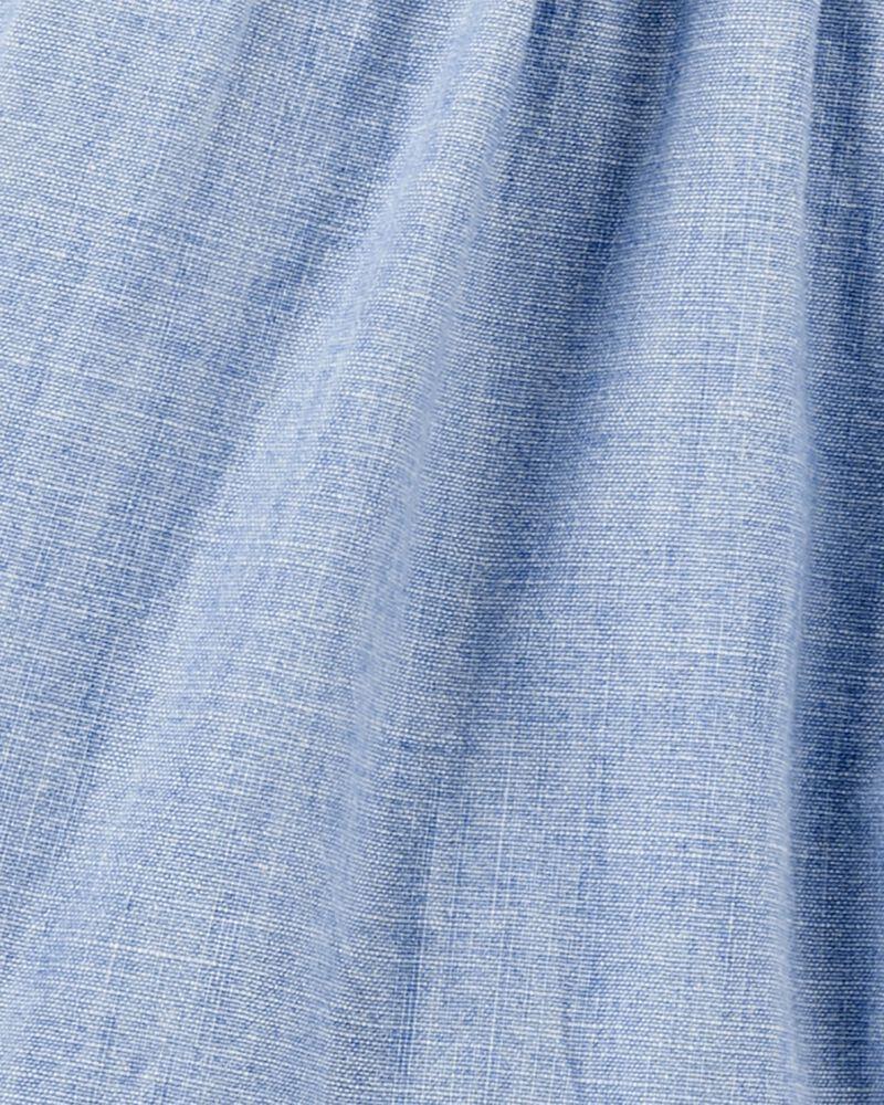 Ruffle Chambray Shirt Dress in Barcelona Wash, , hi-res