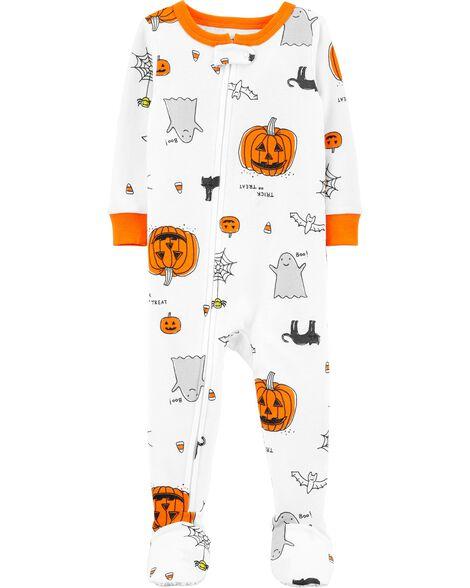 Pyjama d'Halloween 1 pièce en coton ajusté à pieds