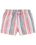 Striped Pull-On Linen Shorts, , hi-res