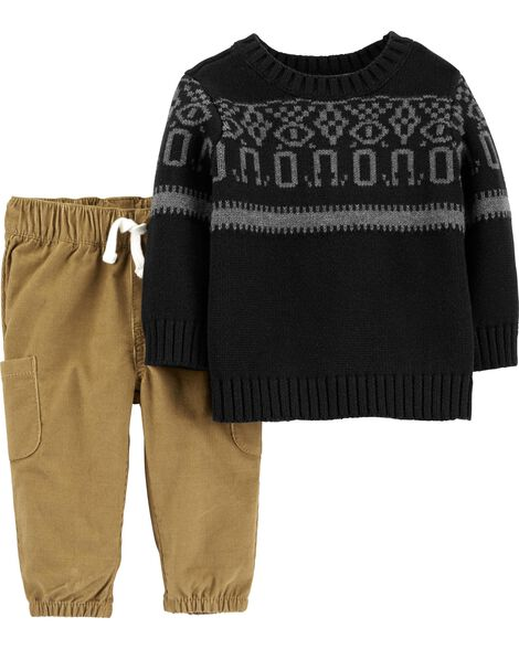 2-Piece Knit Sweater & Corduroy Pant Set