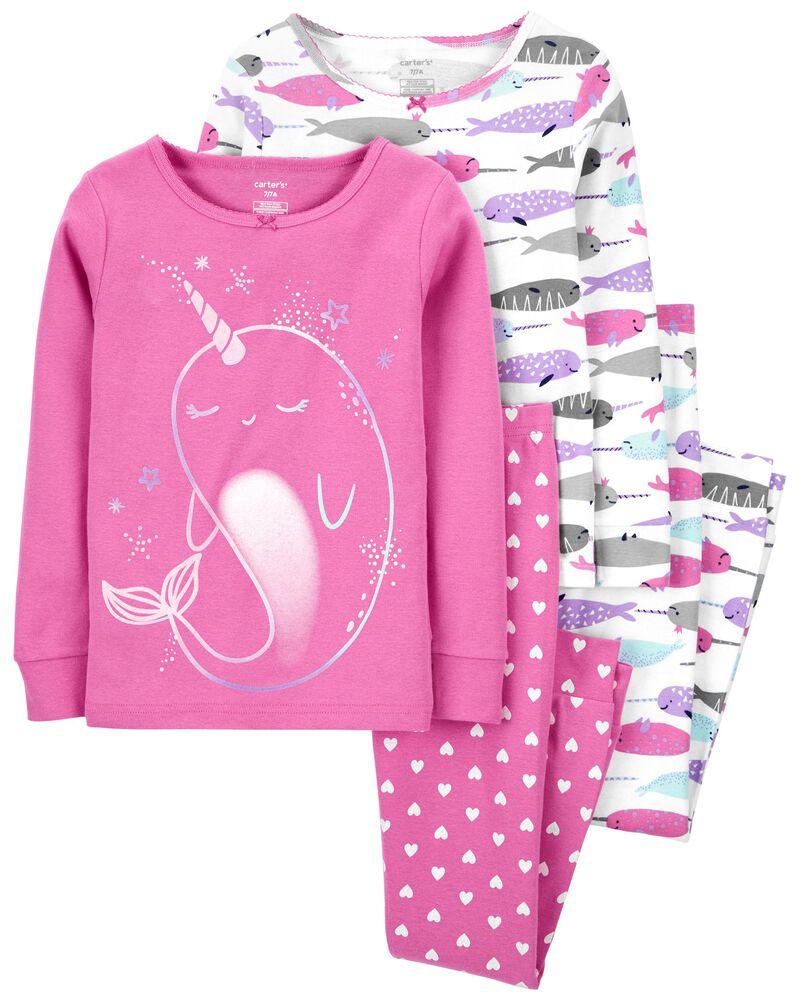 4-Piece Narwhal 100% Snug Fit Cotton PJs, , hi-res