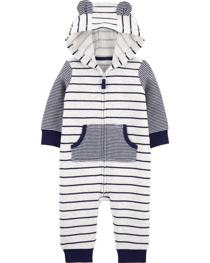 Striped Zip-Up Fleece Jumpsuit, , hi-res