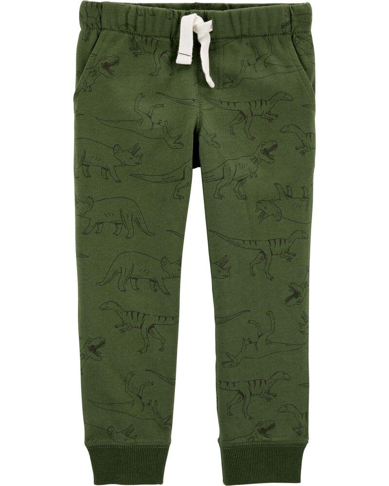 Pantalon de jogging à enfiler en jersey bouclette motif dinosaure, , hi-res