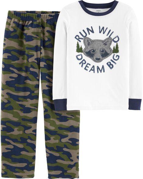 2-Piece Raccoon Snug Fit Cotton & Fleece PJ Set